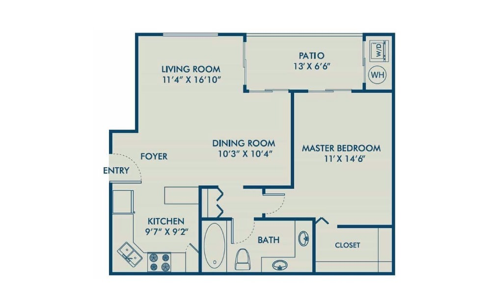 Avalon - R - 1 bedroom floorplan layout with 1 bath and 764 square feet. (2D)