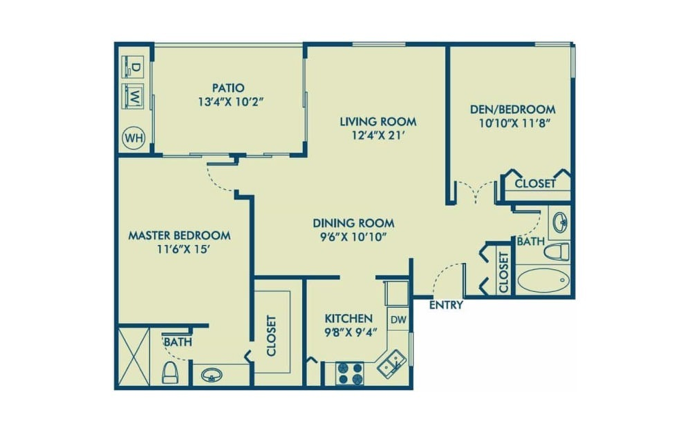 Belmar - R - 2 bedroom floorplan layout with 2 baths and 1097 square feet. (2D)