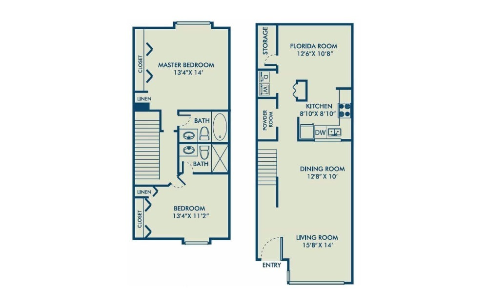 Brighton - R - 2 bedroom floorplan layout with 2.5 baths and 1342 square feet. (2D)