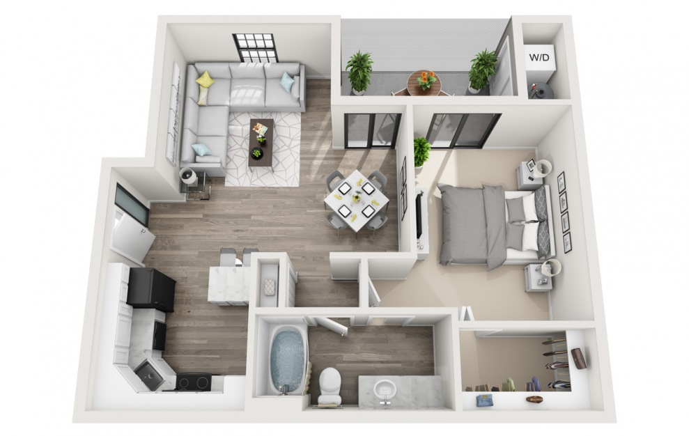 Avalon - R - 1 bedroom floorplan layout with 1 bath and 764 square feet. (3D)
