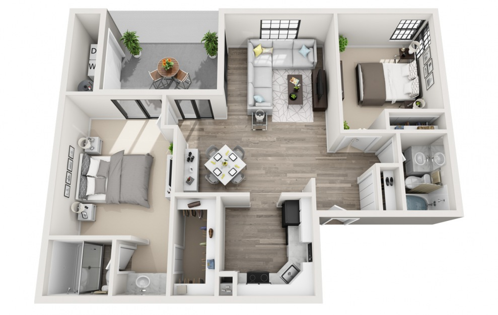 Belmar - R - 2 bedroom floorplan layout with 2 baths and 1097 square feet. (3D)