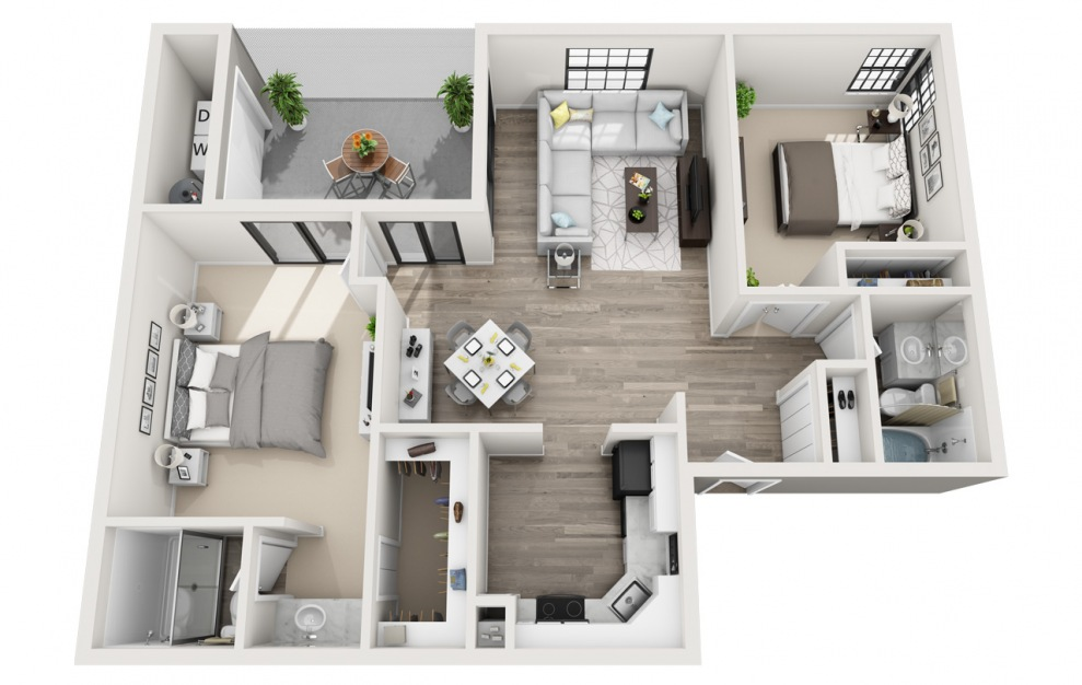 Belmar - 2 bedroom floorplan layout with 2 baths and 1097 square feet. (3D)
