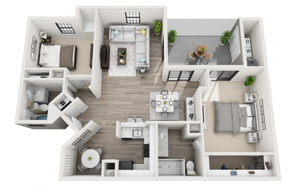 Bishop - 2 bedroom floorplan layout with 2 baths and 1175 square feet. (3D)